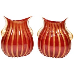 Pair of Red Murano Glass Vases by Pino Signoretto