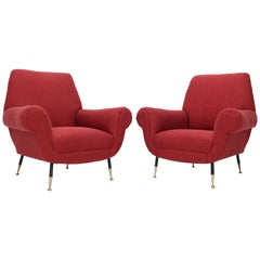 Pair of Red New Red Upholstery Italian Lounge Chairs Brass Feet