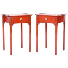 Pair of Red Pagoda Stands or End Tables