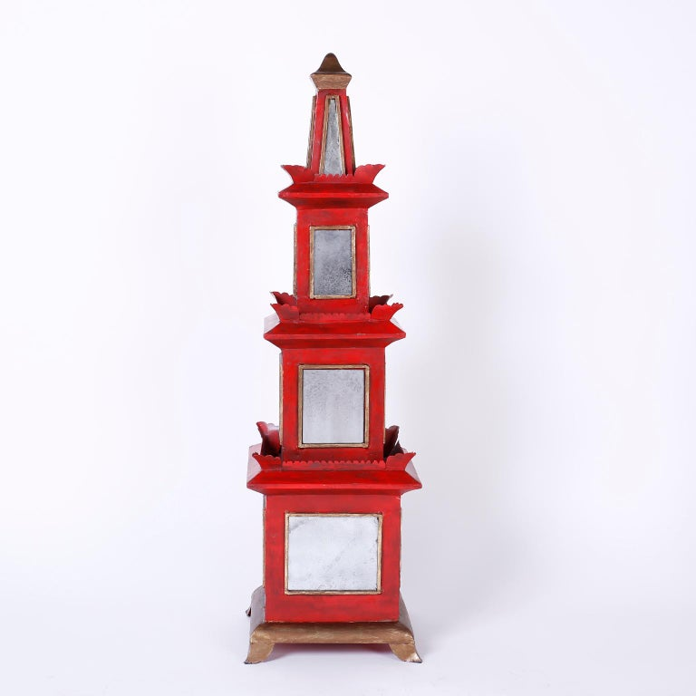 Chinoiserie Pair of Red Painted and Mirrored Pagodas For Sale