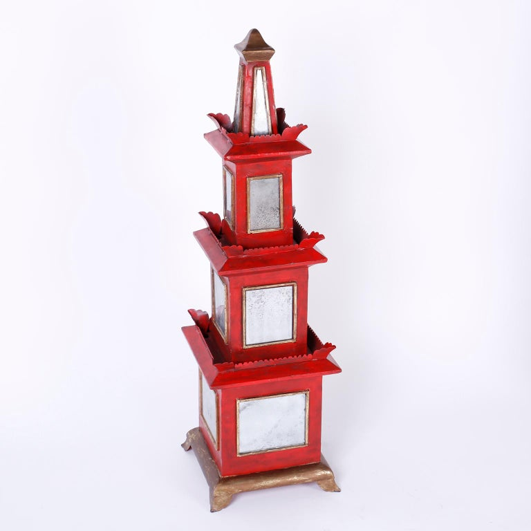 Italian Pair of Red Painted and Mirrored Pagodas For Sale