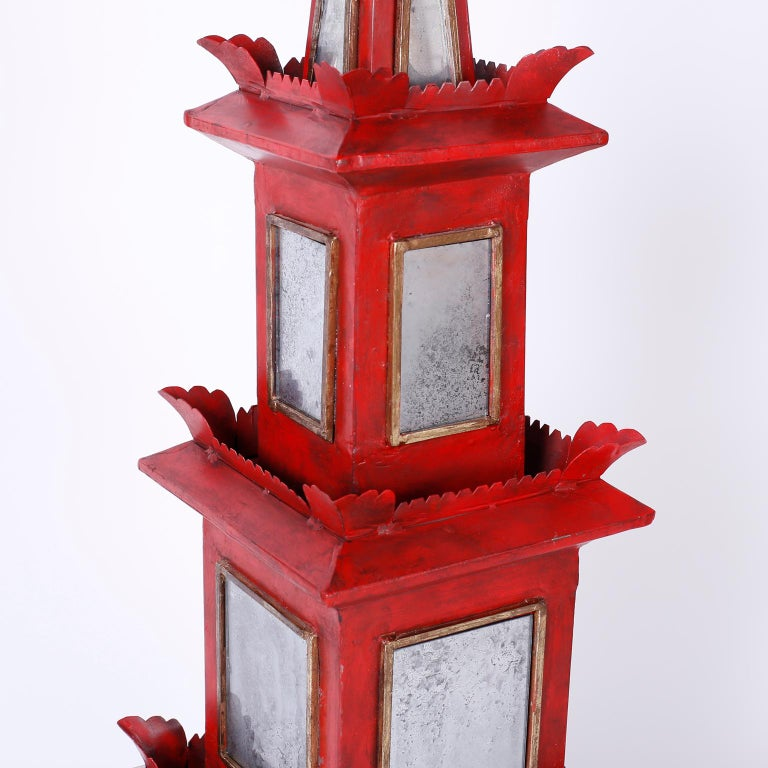 20th Century Pair of Red Painted and Mirrored Pagodas For Sale
