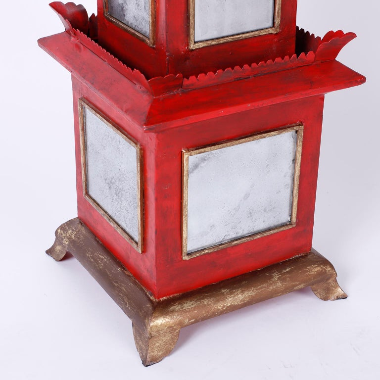 Pair of Red Painted and Mirrored Pagodas For Sale 1