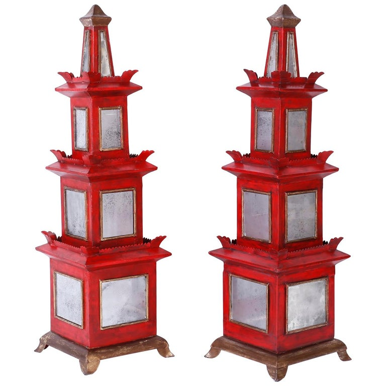 Pair of Red Painted and Mirrored Pagodas For Sale