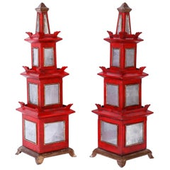 Pair of Red Painted and Mirrored Pagodas
