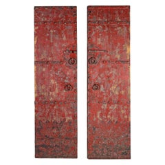 Pair of Red Patina South Asian Doors