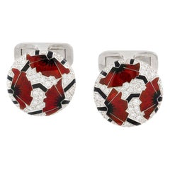 Pair of Red Poppies Art Deco Style Cufflinks by Ilgiz F