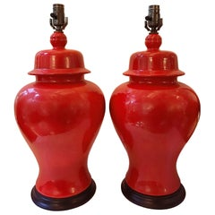 Pair of Red Porcelain Table Lamps