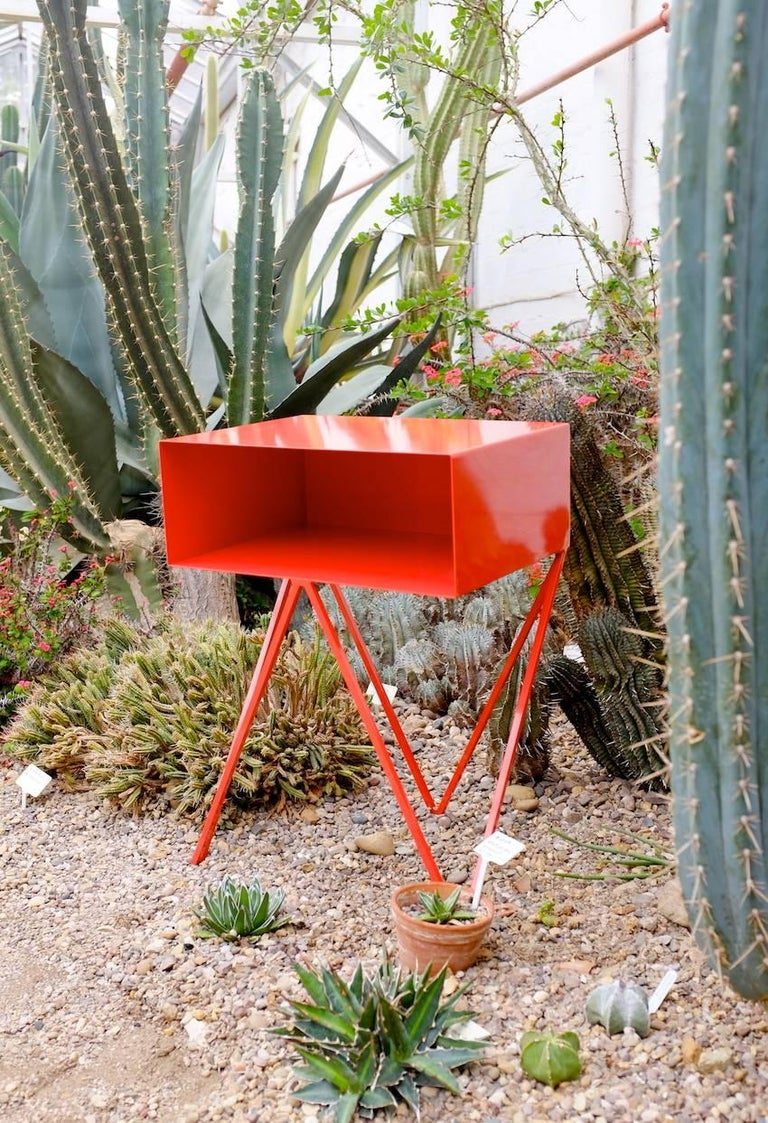 British Pair of Red Powder Coated Steel Robot Bedside Tables For Sale
