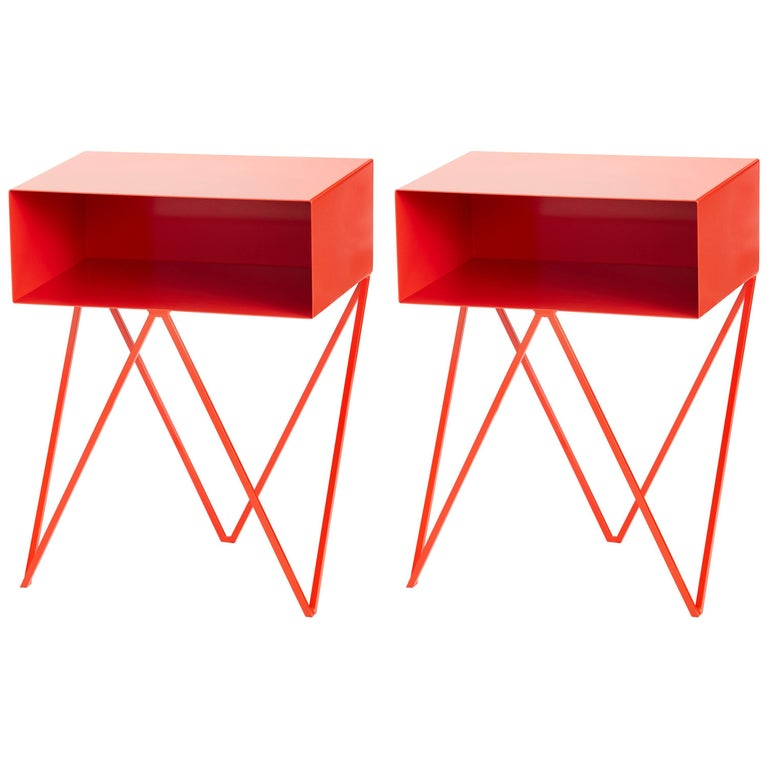 Pair of Red Powder Coated Steel Robot Bedside Tables For Sale
