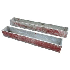 Pair of Red Rectangular Planters by Willy Guhl