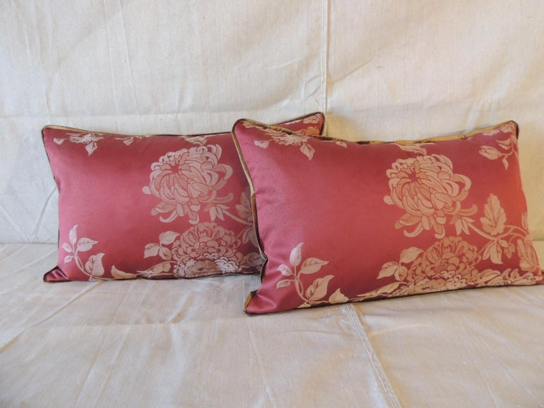 Pair of red satin cotton modern lumbar decorative pillows. Floral damask style pillows with small ATG custom golden silk trim, same silk on backings. Decorative pillows handcrafted in Portugal. Stitched by hand closure with custom-made pillow