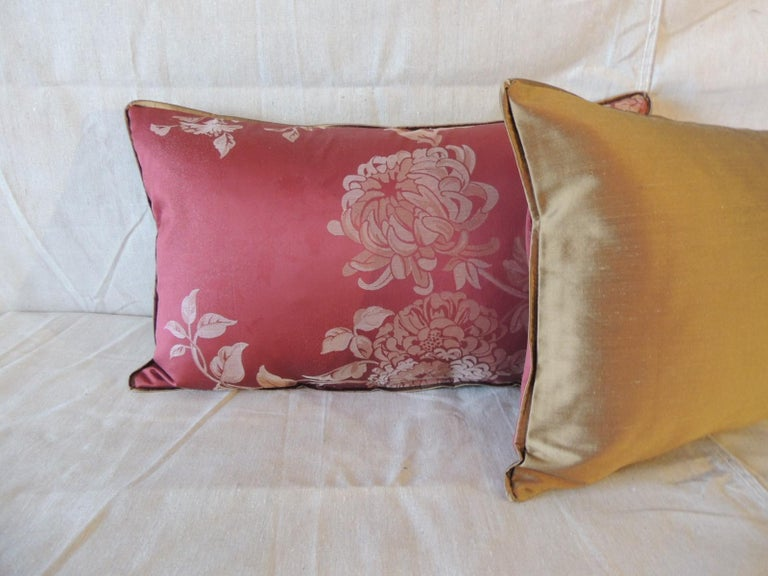 Portuguese Pair of Red Satin Cotton Modern Lumbar Decorative Pillows For Sale