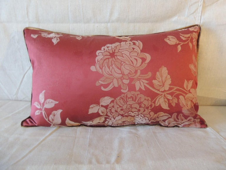 Pair of Red Satin Cotton Modern Lumbar Decorative Pillows In Good Condition For Sale In Oakland Park, FL