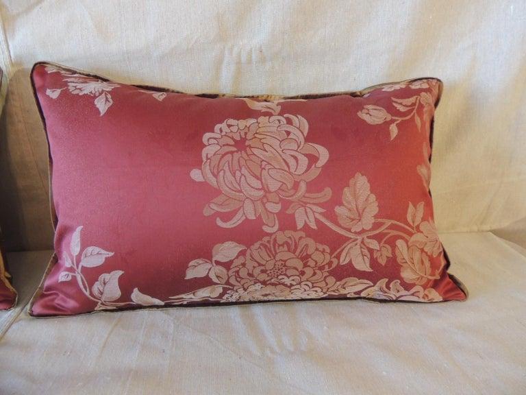 Contemporary Pair of Red Satin Cotton Modern Lumbar Decorative Pillows For Sale