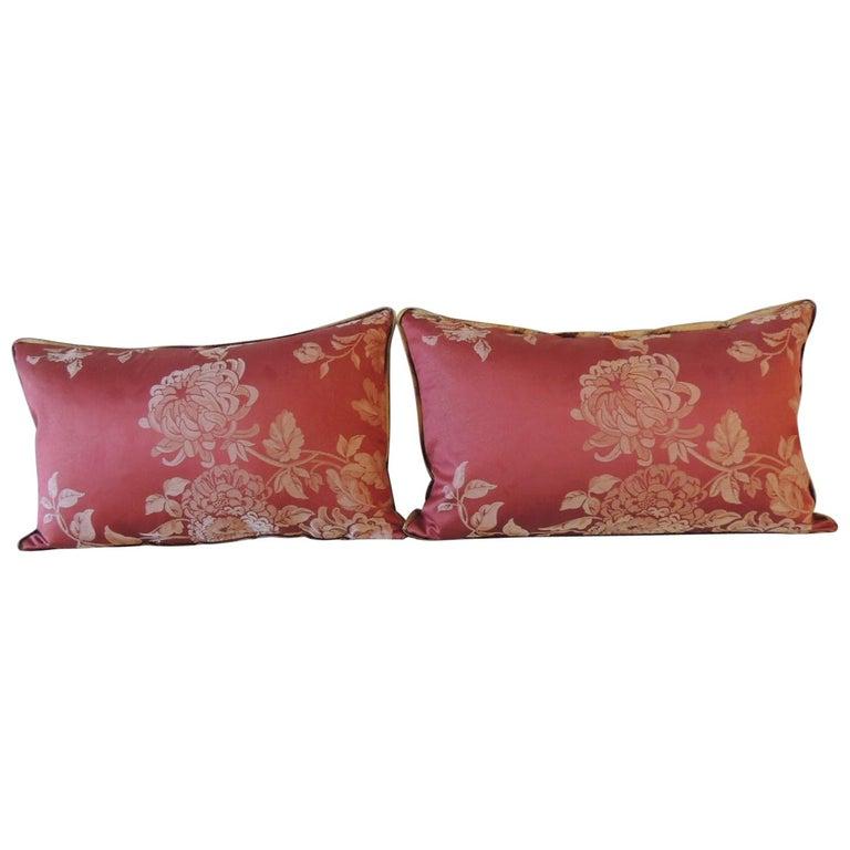 Pair of Red Satin Cotton Modern Lumbar Decorative Pillows For Sale