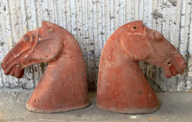Pair of Red Sculpture Han Dynasty Gray Pottery Horse Heads '206BC-220AD' For Sale 7
