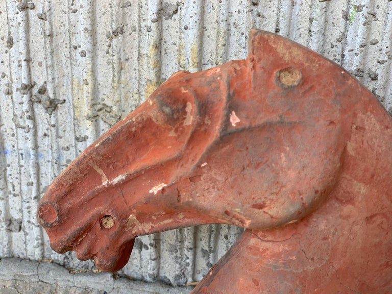 Pair of Red Sculpture Han Dynasty Gray Pottery Horse Heads '206BC-220AD' For Sale 11