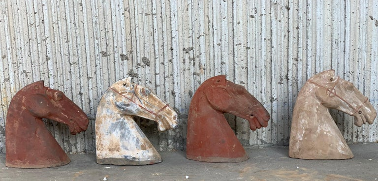 Pair of Red Sculpture Han Dynasty Gray Pottery Horse Heads '206BC-220AD' In Good Condition For Sale In Miami, FL