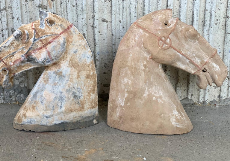 Terracotta Pair of Red Sculpture Han Dynasty Gray Pottery Horse Heads '206BC-220AD' For Sale