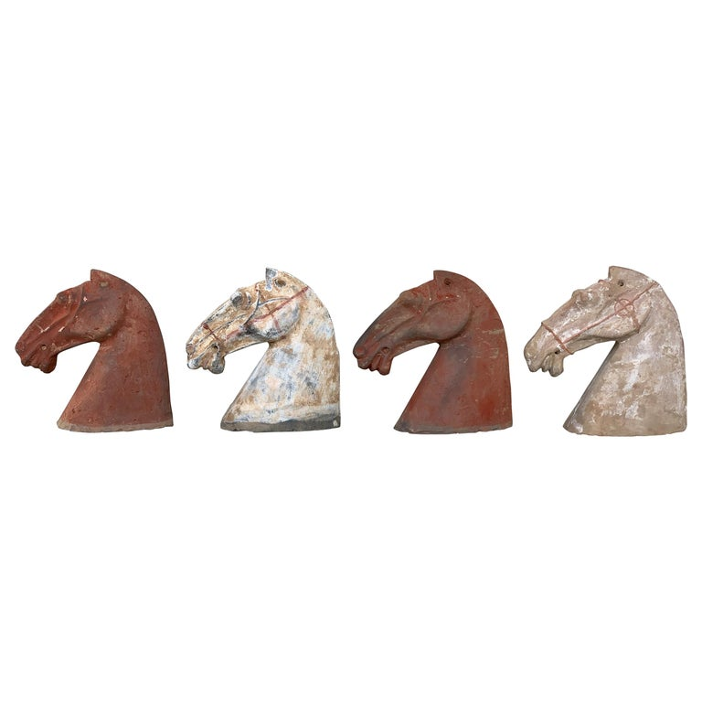 Pair of Red Sculpture Han Dynasty Gray Pottery Horse Heads '206BC-220AD' For Sale