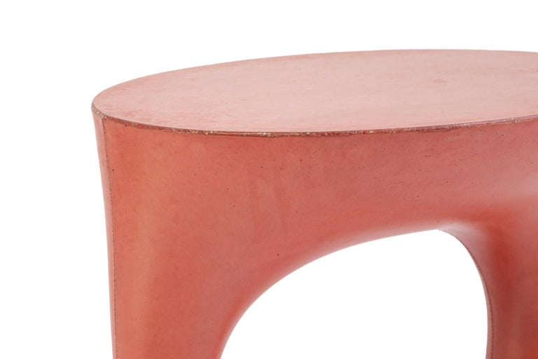 Cast Pair of Red Short Kreten Side Tables from Souda, Made to Order For Sale