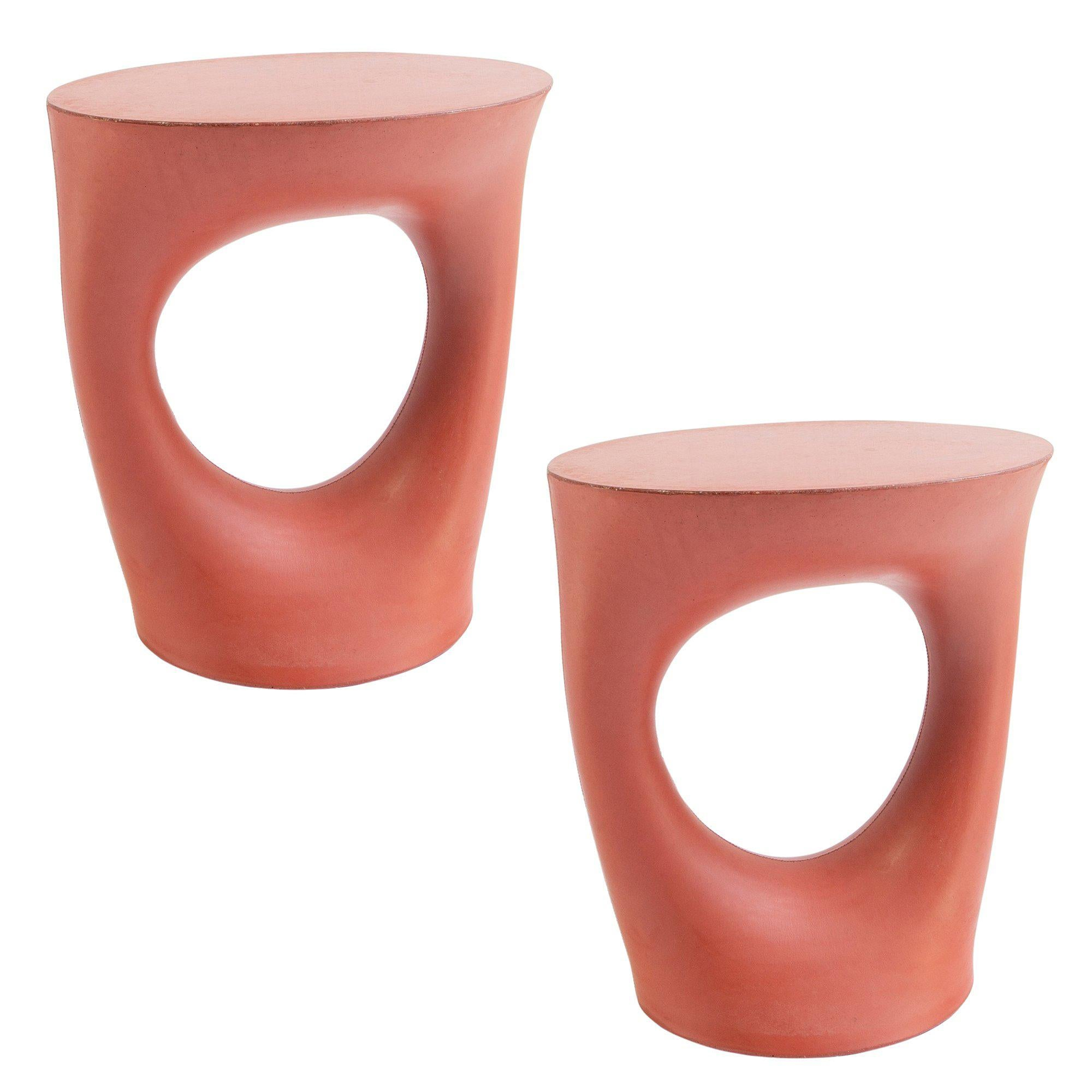 Pair of Red Short Kreten Side Tables from Souda, Made to Order