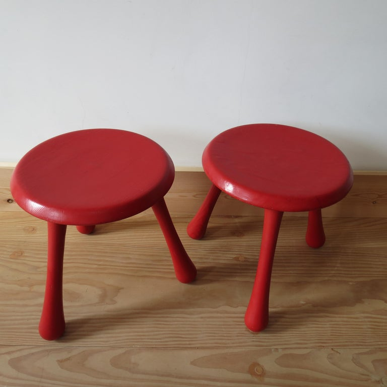 Pair of Red Three-Legged Stools by Ingvar Kamprad for Habitat 2