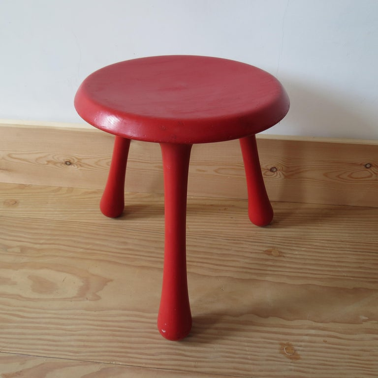 Mid-Century Modern Pair of Red Three-Legged Stools by Ingvar Kamprad for Habitat