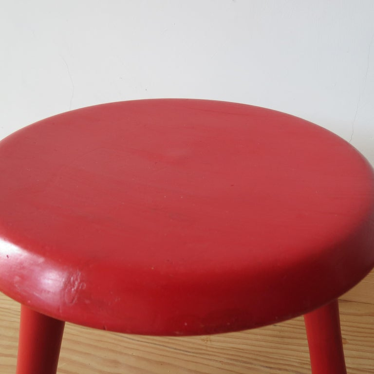 Scandinavian Pair of Red Three-Legged Stools by Ingvar Kamprad for Habitat