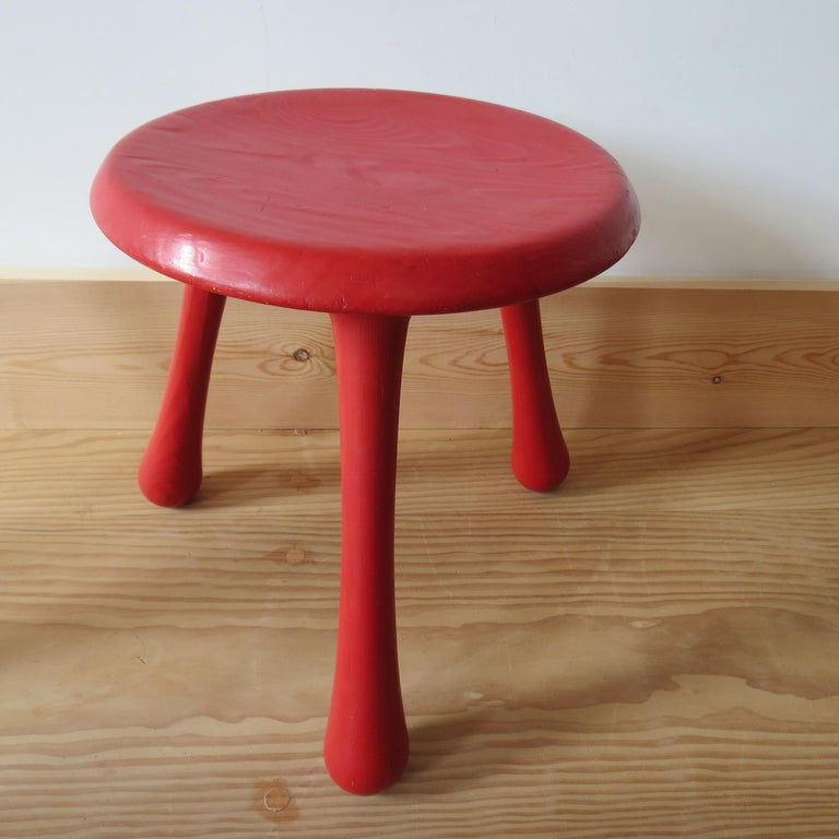 Pine Pair of Red Three-Legged Stools by Ingvar Kamprad for Habitat