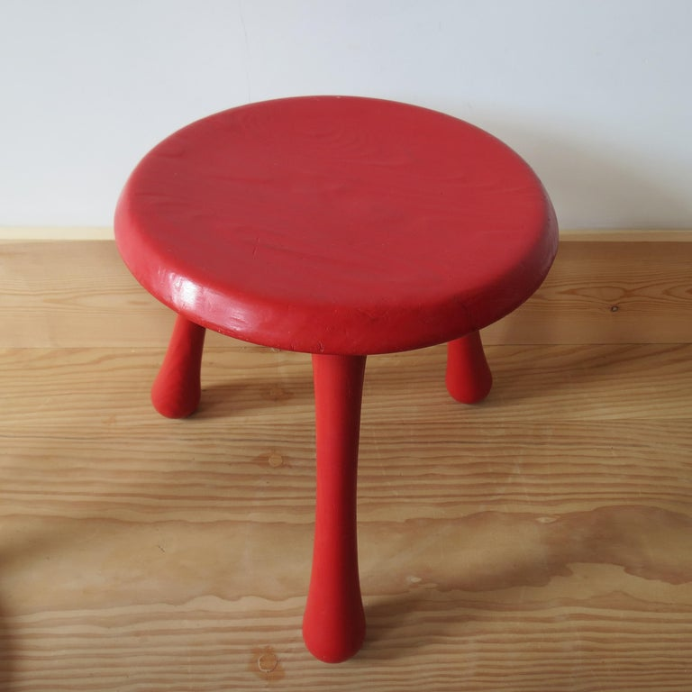 Pair of Red Three-Legged Stools by Ingvar Kamprad for Habitat 1