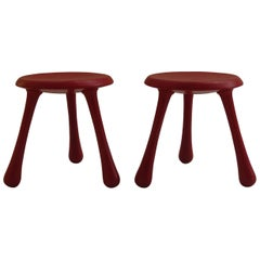 Pair of Red Three-Legged Stools by Ingvar Kamprad for Habitat