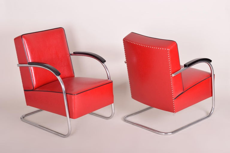 Czech Pair of Red Tubular Steel Cantilever Armchairs, Chrome, New Leather Upholstery For Sale