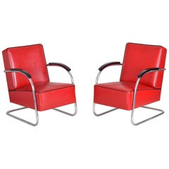 Pair of Red Tubular Steel Cantilever Armchairs, Chrome, New Leather Upholstery