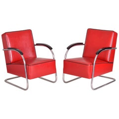 Pair of Red Tubular Steel Cantilever Armchairs, Chrome, New Upholstery, 1930s