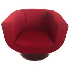 Pair of Red Tulip Chairs by Jeffrey Bernett for B&B Italia Chrome Base