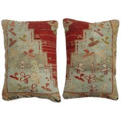Pair of Red Turkish Oushak Rug Pillows