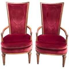 Pair of Red Velvet Hollywood Regency Highback Chairs