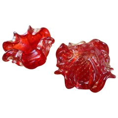 Pair of Red Vide-Poche or Ashtray a Dona, 1980