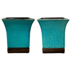 Pair of Red Wing Pottery Turquoise Blue Square Glazed Pottery Vases, Marked