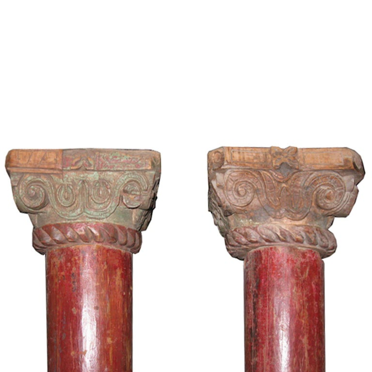 Indian Pair of Red Wood Columns For Sale