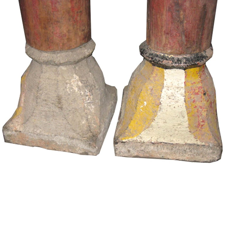 Pair of Red Wood Columns For Sale 1