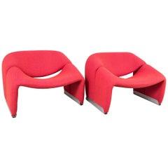 Pair of Red Wool Pierre Paulin Groovy Chairs
