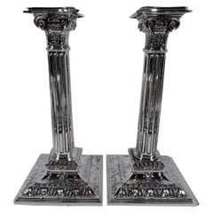 Pair of Reed & Barton Edwardian Classical Sterling Silver Candlesticks