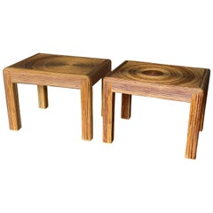 Pair of Reeded Rattan Side Tables, 1970s