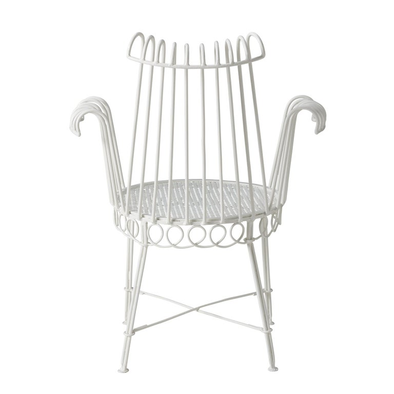 Mid-Century Modern Pair of Refinished French Midcentury Cap d'Ail Garden Chairs by Mathieu Matégot For Sale
