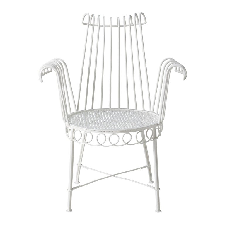 Pair of Refinished French Midcentury Cap d'Ail Garden Chairs by Mathieu Matégot For Sale