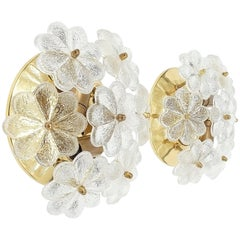 Pair of Refurbished Glass Flower Sconces by Ernst Palme, circa 1970