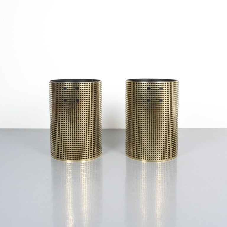 "Pair of refurbished Josef Hoffmann style trashcans, waste paper baskets or trash bins, Austria, 1950. Brass cage with black metal insert. 11"" x 15.74"". Very good refurbished condition, newly polished brass."